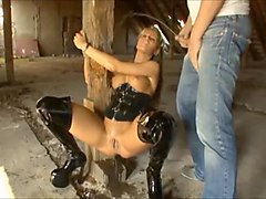 German Blonde Slut tied up for Pissing Action