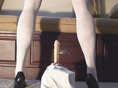 Shari A Sissy Maid Riding Dildo