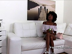 Slender ebony amateur bangs in casting