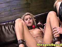 restrained les sub straponfucked doggystyle