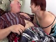 Chubby whore rides on an old man hard cock