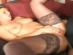 blonde hottie in stockings anal fucking on sofa