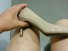Beige Patent Pumps with Pantyhose Teaser