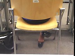 Candid Teen Nylon Feet Shoeplay at the Library