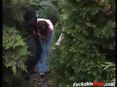 Amateur couple have crazy sex in the woods