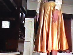 gold satin skirt wife dominated by pervy husband 3