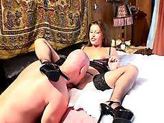 sissy guy gets fucked hard in his asshole by strapon secretary
