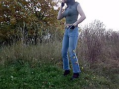 sandralein33 smoking in jeans