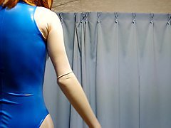 kigurumi with blue rubber swimsuit