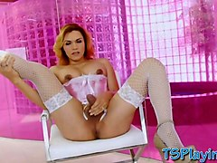 shemale in lingerie gaby b gets her ass rammed real good