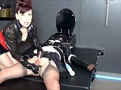 Madame C plays with rubber doll AngelicBella s cock ass