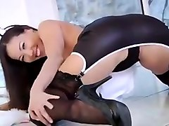 Sexy asian slut in maid outfits get a big white cock.