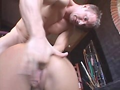 nasty tattooed slave rides a rock solid cock